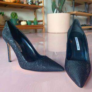 Black Embossed Manolo Blahnik Heels